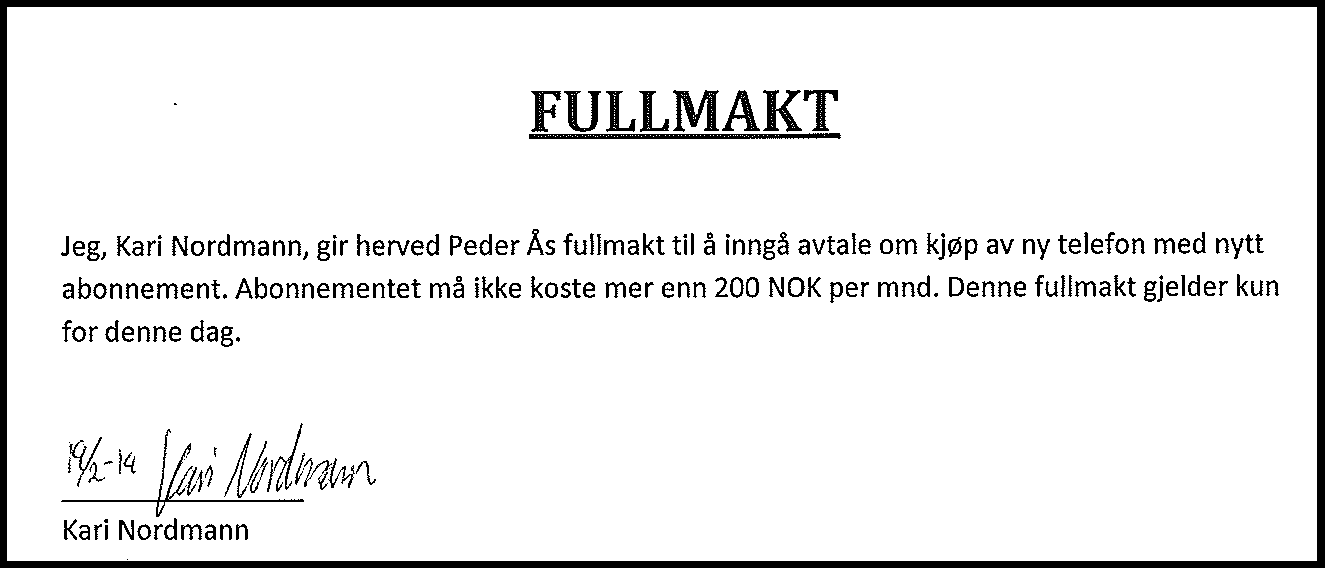 Post fullmakt